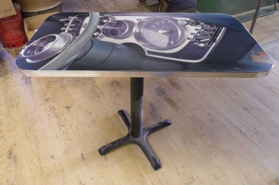 Retro Table Top with Custom Car Decor and 1-1/4 inch Bright Grooved Aluminum Edge