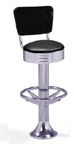 1500-782RB - New Retro Dining Revolving Grooved Ring Fountain Stool with Back and Ring Footrest
