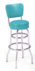 "215-125rb - New Retro Dining 30"" Revolving Double Ring Barstool with Back"
