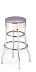 "215-46 - New Retro Dining 30"" Revolving Double Ring Barstool with Chrome Ring"