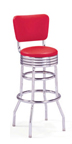 "215-782RB - New Retro Dining 30"" Revolving Double Ring Barstool with Grooved Ring and Back"