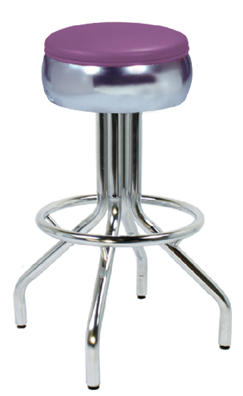 "250-781/46 - New Retro Dining 24"" or 30"" Revolving Single Ring Spider Leg Barstool with Bulged Seat Ring"