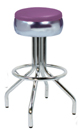 "250-781-46 - New Retro Dining 24"" or 30"" Revolving Spider Leg Stool with Single Foot Ring Buldged Ring Seat Chrome Edge"