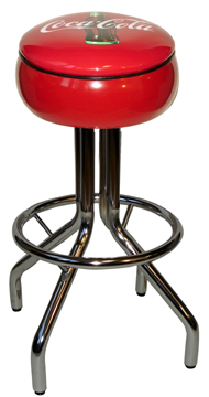 "250-781CBB - New Retro Dining 24"" or 30"" Revolving Single Foot Ring  Spider Leg Barstool with Red Painted Bulged Seat Ring with Coke Bull's-Eye Silk Screen Seat"