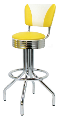 "250-782RBEL - New Retro Dining 24"" or 30"" Revolving Single Foot Ring Barstool with Grooved Ring Seat and Elite V-Back"