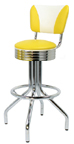 "250-782RBEL - New Retro Dining 24"" or 30"" Revolving Spider Leg Stool with Revolving Ring Seat with Vintage Elite ""V"" Back Barstool"