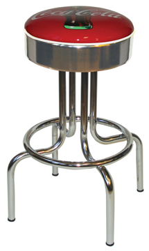 "264-46CBB - New Retro Dining 24"" or 30"" Revolving Single Foot Ring Barstool with Chrome Seat Ring with Coke Bull's-Eye Silk Screen Seat"