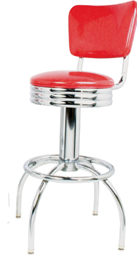"300-49NSRB - New Retro Dining 24"" or 30"" Revolving Single Foot Ring Stool with Curved Back, Scalloped Ring Seat and Arched Legs"