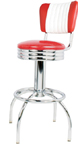 "300-49NSRBMB - New Retro Dining 24"" or 30"" Revolving Arch Leg Barstool with Scalloped Ring and Malibu Back"