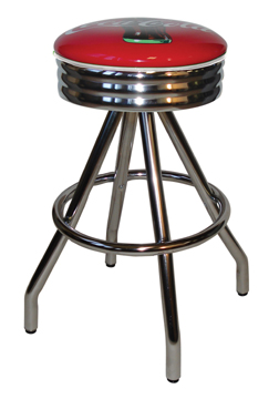 "400-49NSCBB - New Retro Dining Coke Brand 30"" Revolving Single Foot Ring Stool with Scalloped Chrome Ring Seat Ring, Coca Cola Bull's Eye Silk Screen Seat and Pyramid Legs."