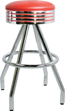 "400-782 - New Retro Dining 30"" Revolving Single Foot Ring Stool with Grooved Ring Seat and Pyramid Legs."
