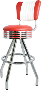 "400-782RBMB - New Retro Dining 30"" Revolving Single Foot Ring Stool with Malibu Back, Grooved Ring Seat and Pyramid Legs."