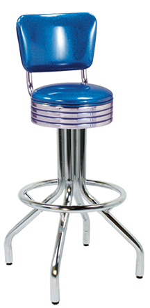 "250-782RB - New Retro Dining 24"" or 30"" Revolving Single Foot Ring Barstool with Grooved Ring Seat and Back"
