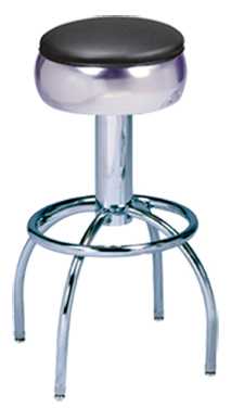 "300-781 - New Retro Dining 24"" or 30"" Revolving Single Foot Ring Stool with Bulged Ring Seat and Arched Legs."