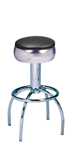 "300-781/46 - New Retro Dining 24"" or 30"" Revolving Arch Leg Barstool with Bulged (or smooth chrome) Ring Seat"