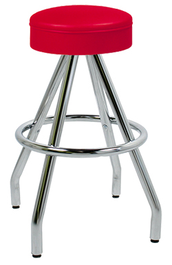 "400-125R - New Retro Dining 30"" Revolving Single Foot Ring Stool with Upholstered Ring Seat and Pyramid Legs."