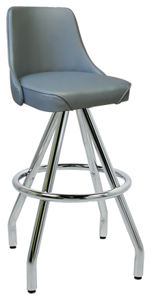 "400-242WF - New Retro Dining 30"" Revolving Single Foot Ring Stool with Upholstered Bucket Seat and Pyramid Legs."