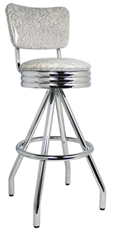 "400-49NSRB - New Retro Dining 30"" Revolving Single Foot Ring Stool with Curved Back, Scalloped Ring Seat and Pyramid Legs."