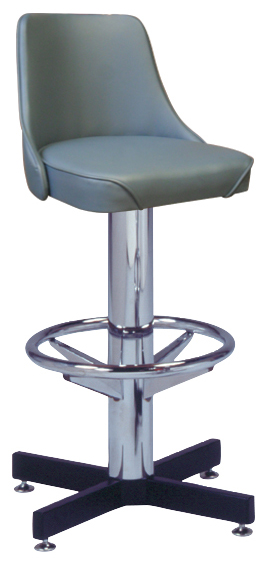 "500-242WF - New Retro Dining 24"" or 30"" Single Foot Ring Stool with Upholstered Bucket Seat, 3-1/2"" Column and Cross Feet Base"