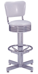 "500-782RB - New Retro Dining 24"" or 30"" Revolving Grooved Ring Column Barstool with Back"
