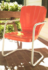 new retro metal chair coral thunderbird shell lawn chair patio furniture